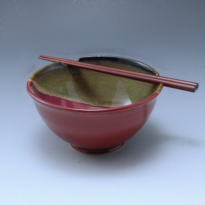 Handmade Stoneware Pottery Rice /Noodle Bowl Plum Red and image 0