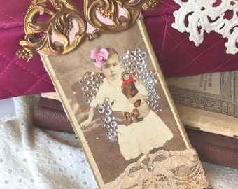 Vintage Photo Gift Tag, Vintage Photo Collage, Collage, Hang Tag,Mixed Media, Shabby Chic, Art Tag, Lace Tag, Gifts