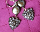 Vintage Assemblage Earrings, Vintage Rhinestone Earrings,Coin Pearls, Heart Earrings, Romantic Gifts, Forevermore Jewels