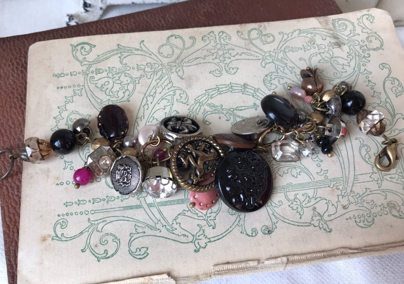 Old Button Bracelet Vintage Button Bracelet Forevermore Jewels Gifts for her Vintage Jewelry Repurposed Jewelry