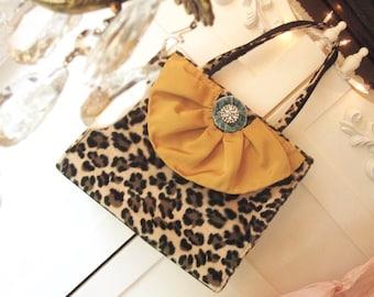 Leopard Print Shoulder Bag, Fall Fashion, Fall Purse, Altered Shoulder Bag, Leopard Print, ForevermoreJewels