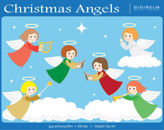 Christmas Angels Images Clip Art.Pretty Christmas Angels Clipart Digital Printable Clip Art