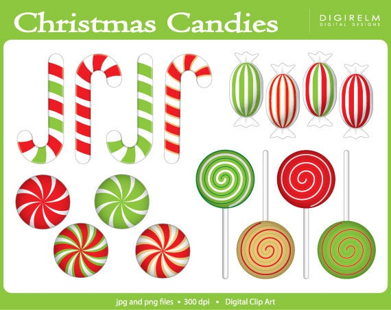 graphic about Printable Clip Art titled Xmas Candies Clipart - Electronic Printable Clip Artwork