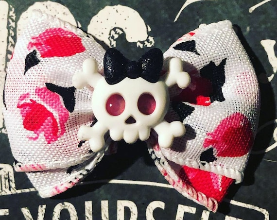 "2"" Roses and Skull Mini Bow - Valentine's Day - Dog Bows  - Bows for Girls - Baby Bows - Bow with Roses- Valentine Bows for Dogs"