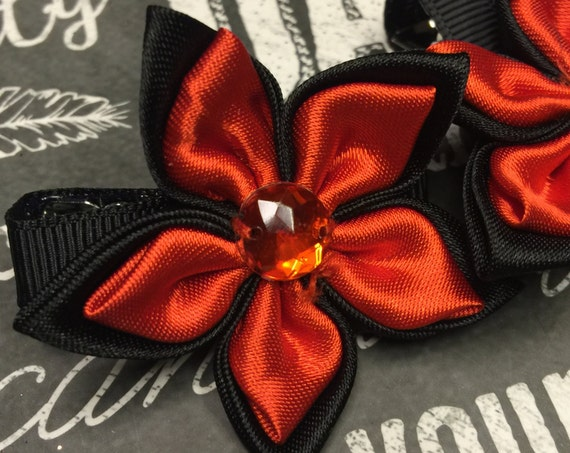 Red and Black Satin Flower Clips
