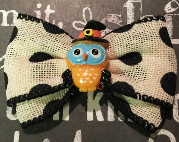"2"" Halloween Owl Mini Bow"