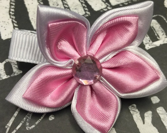 Pink and White Satin Flower Clips