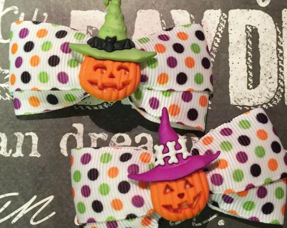 "2"" Spooky Jack O' Lantern Polka Dot Mini Bows - Dog Bows - Halloween Dog Bows- Bows for Dogs - Bows for Girls"