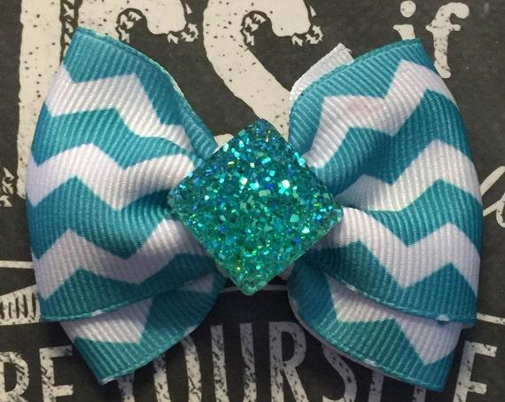 "2"" Turquoise and White Chevron Print Mini Bow - Dog Bows - Bows for Girls"