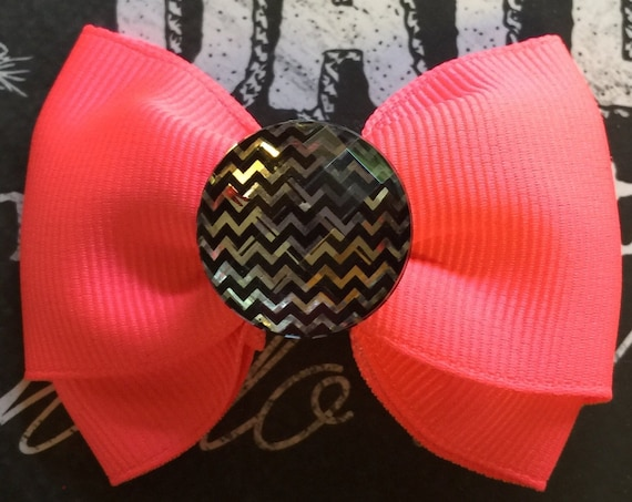 "2"" Hot Pink Mini Bow - Dog Bows - Bows for Girls - Neon Pink Bows- Pink Bows"
