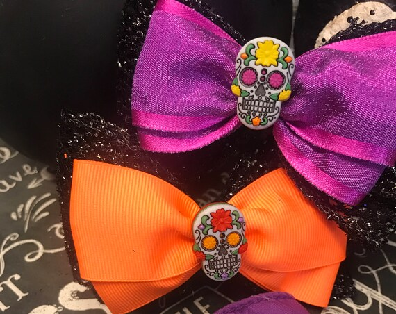 "4"" Candy Skull Bows - Day of the Dead Bows - Bows for Girls - Hair Bows for Girls"