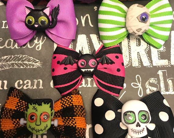 "Bows for Dogs or Girls - 2"" Jeepers Peepers Mini Bows for Halloween - Dog Bows - Halloween Bows - Bows for Girls"