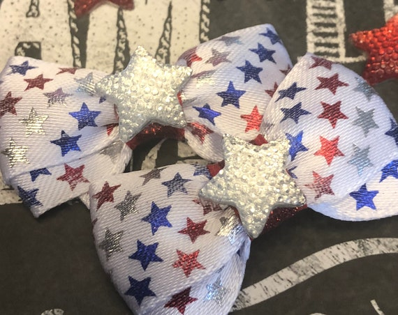 "1.5"" 4th of July Mini Bow Set - Dog Bows - Bows for Girls - Dog Hair Bows - Bow Sets - Patrotic Bows - Star Bows"