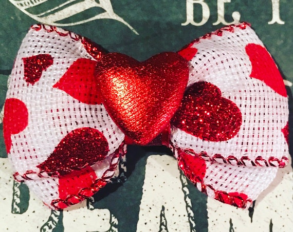 "2"" Red Heart Mini Bow - Valentine's Day - Dog Bows - Red Hearts - Bows for Girls"