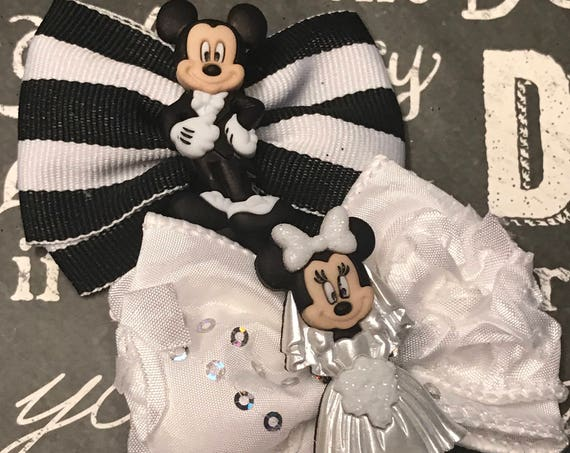 Mr. and Mrs. Mickey Mouse Wedding Mini Bow Set - Bows for Dogs - Wedding Bows - Bows for Girls - Disney Wedding