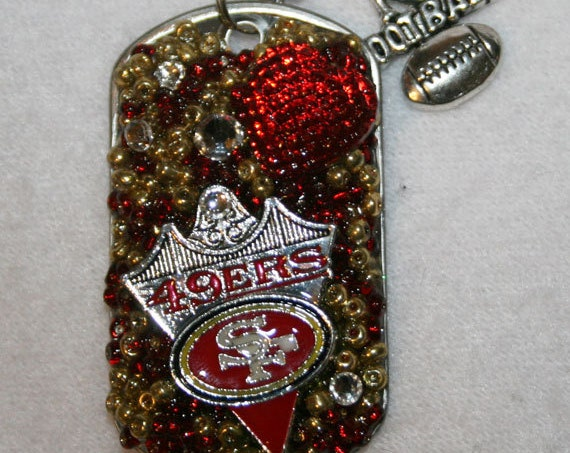 SF 49ers - I Love Football SF 49er Inspired Bling Embellished Necklace - Football Jewelry - San Francisco 49ers - Red and Gold - Jewelry