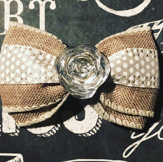 "2"" Burlap and Cream Polka Dot Mini Bow- Dog Bows - Bows for Dogs  - Bows - Hair Bows for Dogs - Polka Dot Bows"