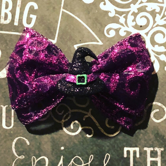 "2"" Sparkly Witch Hat Mini Bow - Dog Bows - Halloween Bows - Bows for Girls - Purple Bows - Sparkly Bows"