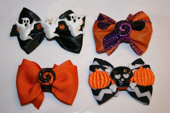 """2 for 7.95 - 2"""" Halloween Mini Dog Bows - Bows for Halloween - Halloween Dog Bows - Dog Bows - Bows for girls"""