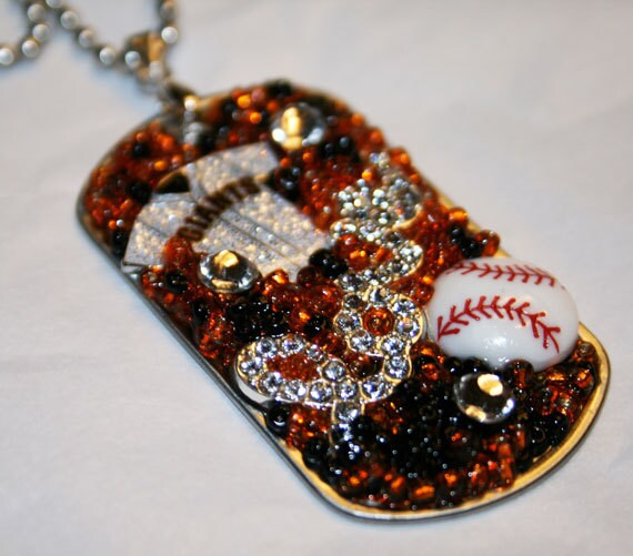 LOVE San Francisco Giants Inspired Bling Embellished Necklace - Baseball Team Jewelry - San Fransicso Giants Jewelry