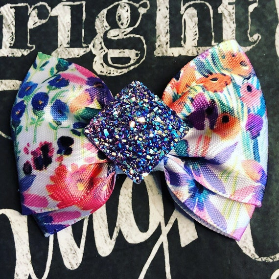 "2"" Colorful Stain Floral Mini Bow - Dog Bows  - Bows for Girls - Dog Hair Bows - Bows with Flowers - Purple Sparkle - Colorful Bow"