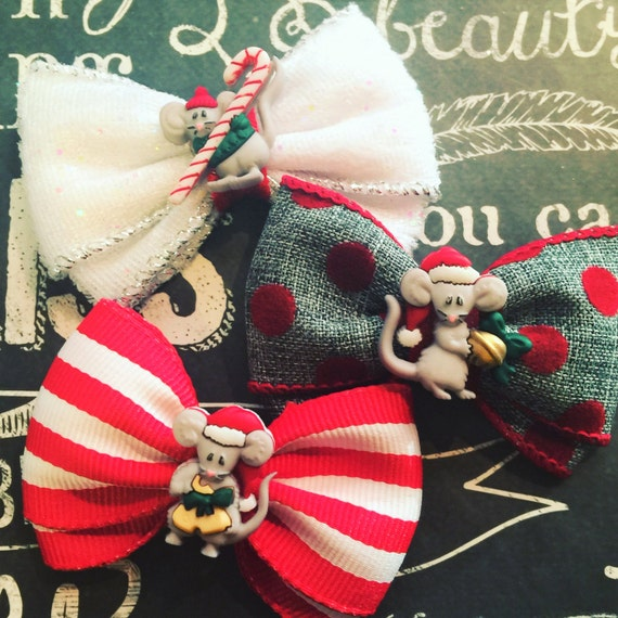 """Bows for Dogs or Girls - 2"""" Holiday Mouse Mini Bow Set - Holiday Bows - Dog Bows - Christmas Bows - Twas the night before Christmas - Bows"""