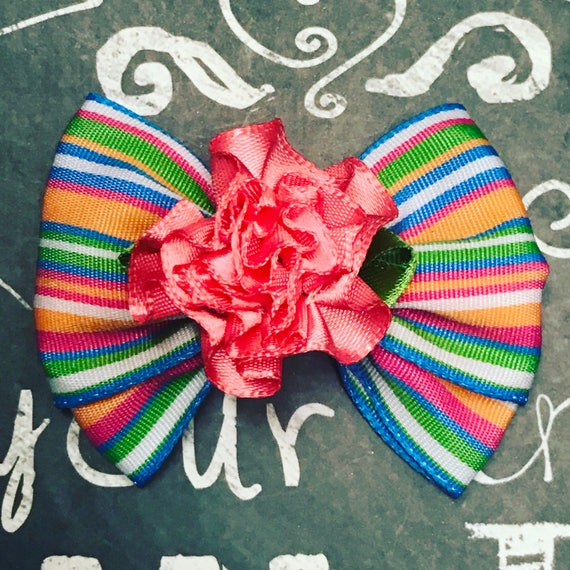 "2"" Spring Stripe Mini Bow - Dog Bows - Spring Bows - Bows for Girls - Stripes - Flowers"