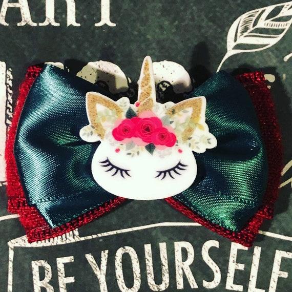 "2"" Magical Christmas Unicorn Double Layer Mini Bow - Dog Bows - Bows for Girls - Unicorns - Magical - Princess Bows - Chistmas Bows"