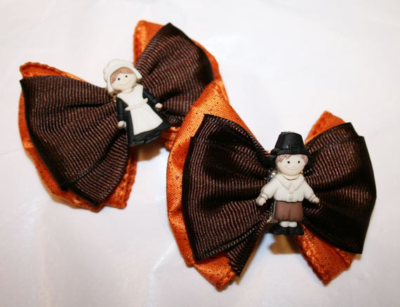 "2"" Pilgrim Thanksgiving Mini Bow Set - Bows for Thanksgiving - Bows for Fall - Bows for Girls - Bows for Dogs - Hair Bows for Dogs"