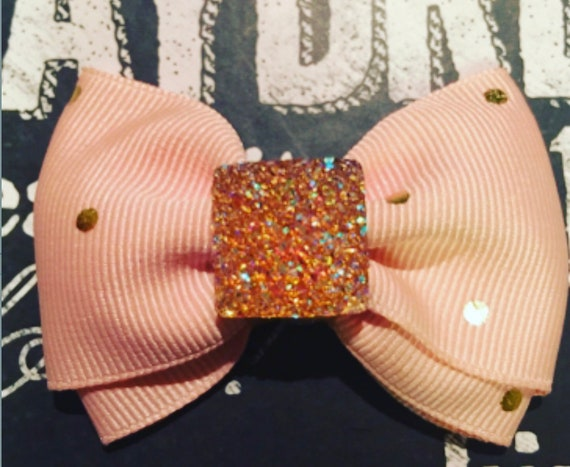"2"" Peach and Gold Polka Dot Mini Bow"