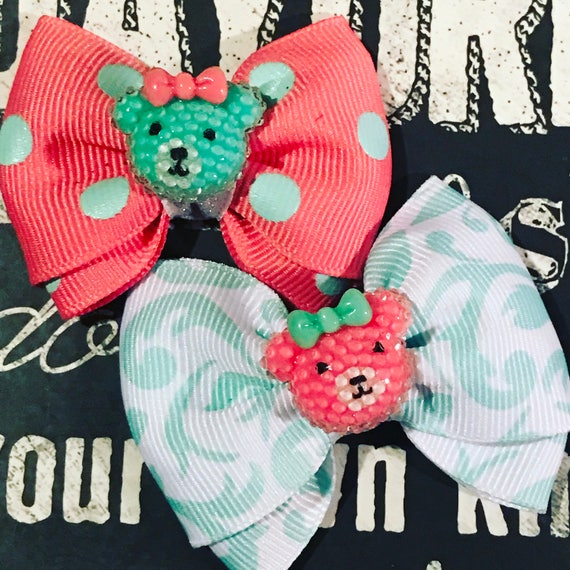 "2"" Mini Bows for Dogs or Girls - Baby Bears - Dog Bows - Bows for Girls - Polka Dots"