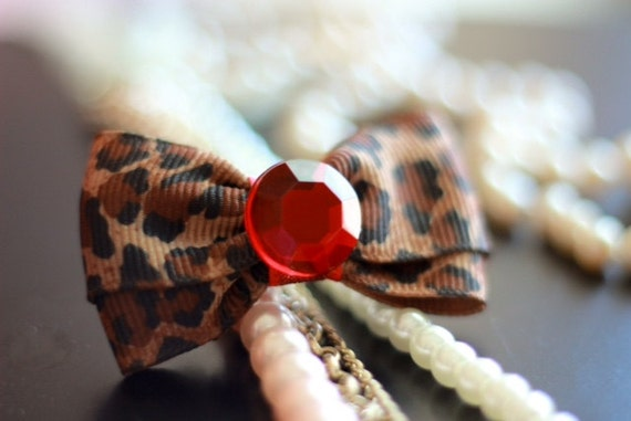 "Bows for Dogs or Girls - 2"" Leopard Print Dog Bow - Bows - Small Bows - Red Rhinestone - Leopard Print Ribbon"