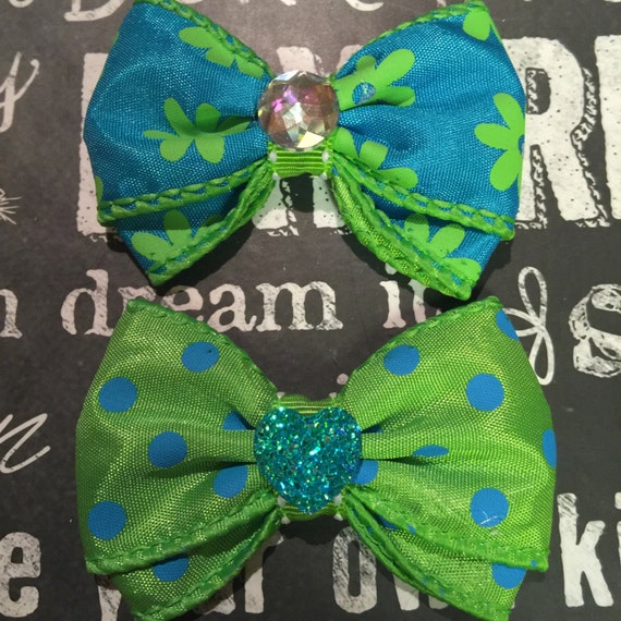 Turquoise and Lime Green Mini Bows