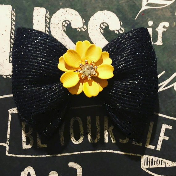 "2"" Black Burlap and Yellow Flower Mini Bow - Dog Bows  - Flowers - Fall Bows - Bows for Girls - Baby Bows"