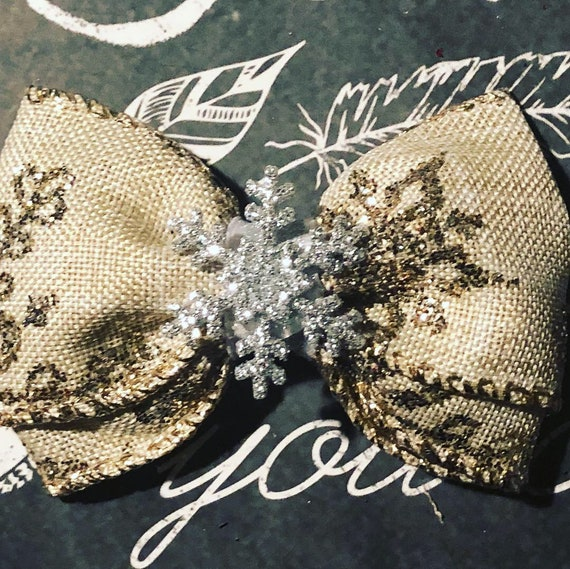 "2"" Glitzy Snowflake Mini Bow- Dog Bows - Bows for Dogs  - Christmas Bows - Hair Bows for Dogs - Winter Bows - Snowflake Bows"