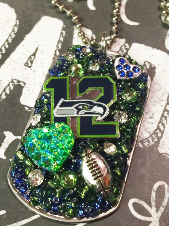 Seattle Seahawks Inspired Embellished Dog Tag Necklace
