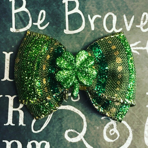"""2"""" Four Leaf Clover Mini Bow - Dog Bows - Bows for Girls - Bows for Dogs - St. Patrick's Day Dog Bow - Hair Bows for Dogs"""