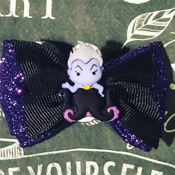 "2"" Ursula Mini Bows for Dogs or Girls - Sparkly Bows -Dog Bows - Purple and Black Bows- Disney Witch Bows"