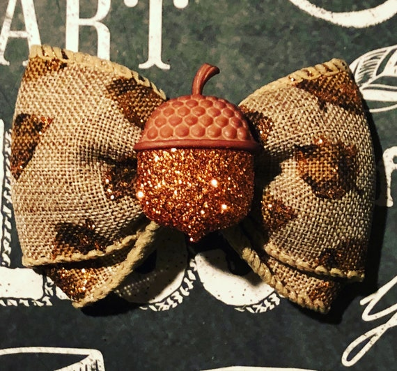 "2"" Sparkly Acorn Fall Mini Bow - Bows for Dogs and Girls - Fall Bows - Autumn Bows - Bows for Fall- Dog Hair Bows"