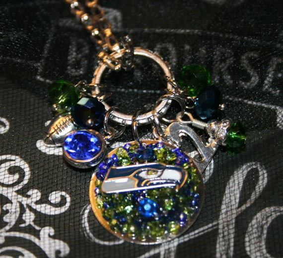 Seattle Seahawks Inspired Bling Embellished Charm Necklace