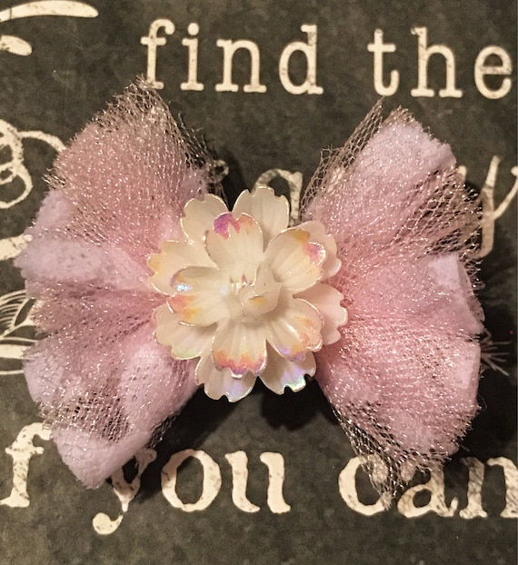 "2"" Spring Tulle Mini Bow for Dogs or Girls - Dog Bows - Limited Edition Mini Bow - Tulle - Easter Bows - Spring Bows"