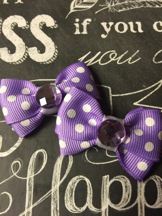 "2"" Lavender Polka Dot Dog Bow Set"
