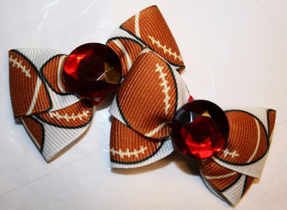 Set of Two Mini SF 49er Inspired Football Bows