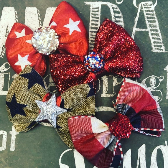 "2"" 4th of July Mini Bows - Dog Bows - Bows for Girls - Dog Hair Bows - Bows  - Patrotic Bows - Star Bows"