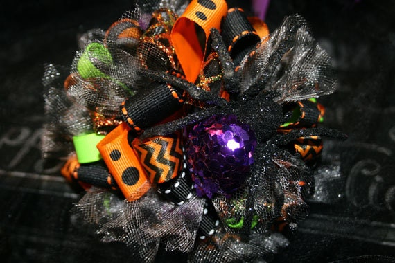Glitter Spider Halloween Loopy Bow