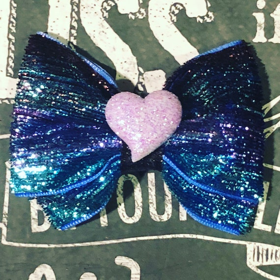 "Bows for Dogs or Girls - 2"" Sparkly Purple/Blue Velvet Mini Bow - Dog Bows - Bows for Girls - Sparkly Bows - Dog Hair Bows - Purple Heart"