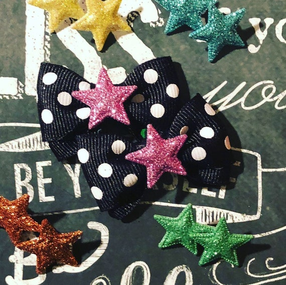"1.25"" Sparkly Super Star Tiny Bows - Dog Bows - Tiny Dog Bows - Hair Bows for Dogs - Star Bows - Polka Dot Bows - Pigtail Bow Sets"