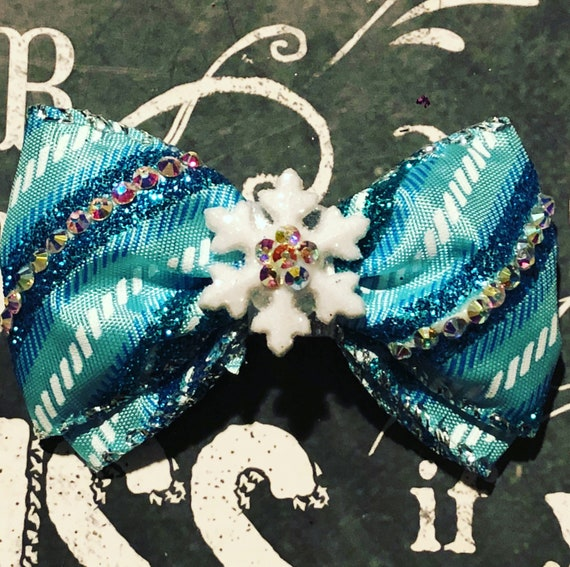 "2"" Limited Edition Snowflake Sparkle Mini Bow- Dog Bows - Bows for Dogs  - Christmas Bows - Holiday Bows - Sparkly Bows"