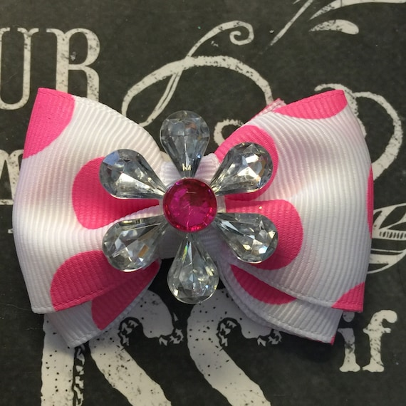 "2"" White with Pink Polka Dots Mini Bow"