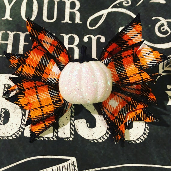 "2"" Mini Halloween Plaid Pinwheel Bow - Bows for Dogs and Girls - Halloween Bows - Pumpkin Bows - Orange and Black Bows - Dog Hair Bows"